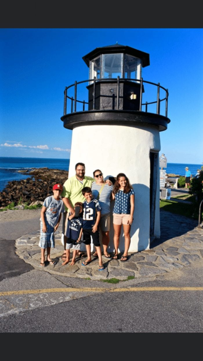Chris Cavarretta and family at a lighthouse