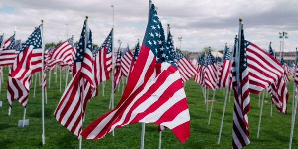 A field with American Flags