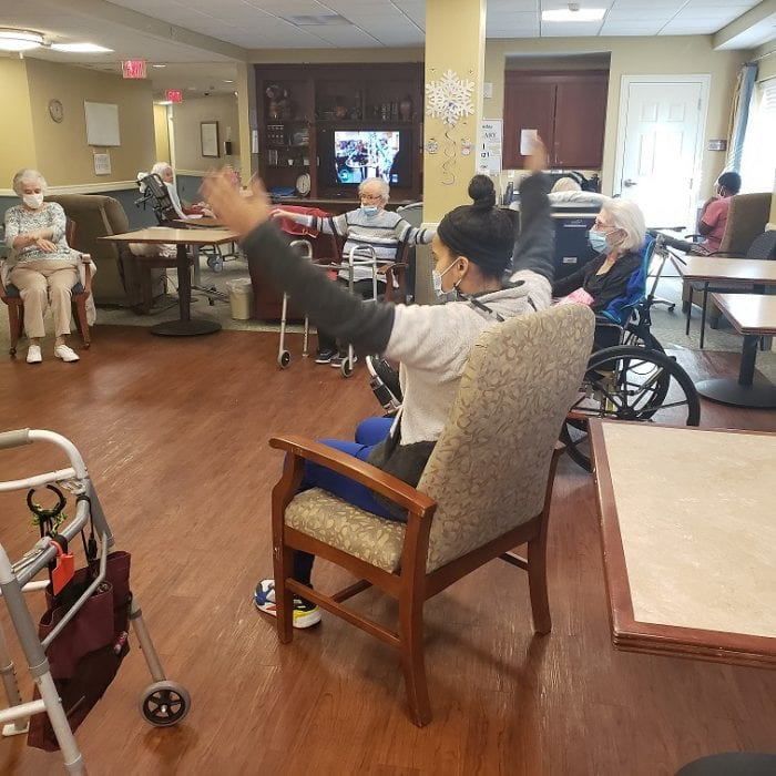 Exercise class at Brudnick Center for Living at Chelsea Jewish Lifecare in Peabody, Massachusetts