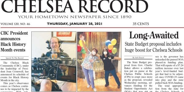 Front page of the Chelsea Record in January 2021