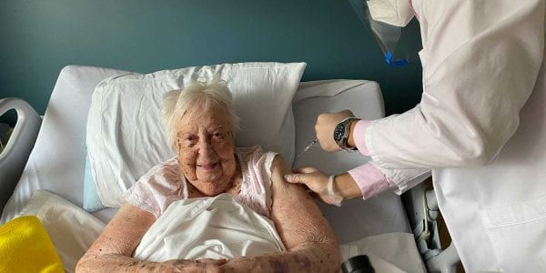LFCL Resident Eleanor Karp, age 106, receives her COVID-19 Vaccine