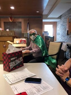 Ed Stewart, Executive Director of Katzman Center for Living, dressed as a superhero for the COVID-19 Vaccine Clinic
