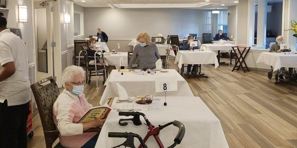 Residents at Brudnick Center for Living in Peabody, Massachusetts, enjoy a socially distanced Passover Seder