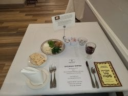 A Passover Seder place setting at Brudnick Center for Living at Chelsea Jewish Lifecare in Peabody, Massachusetts
