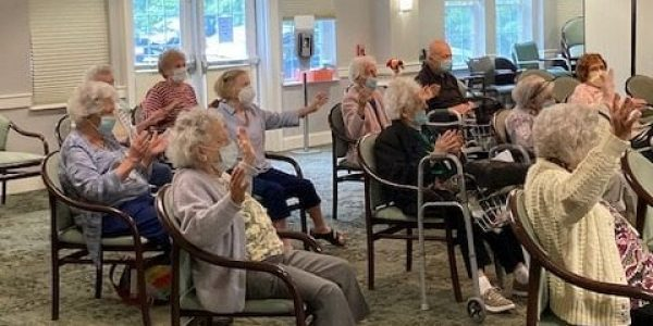 Zumba class at Brudnick Center for Living at Chelsea Jewish Lifecare in Peabody, Massachusetts