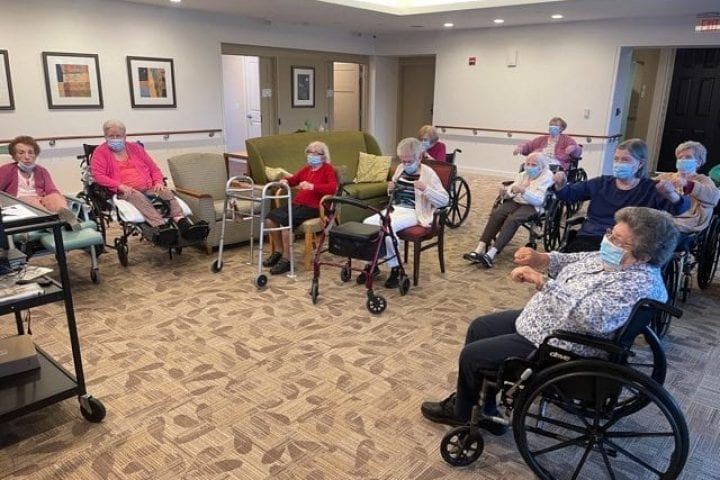 Residents relax in a group