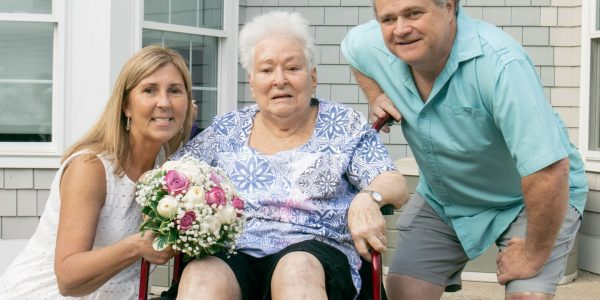 Judi and Chris Corbishley of Lynn renewed their wedding vows on May 25 at Harriett and Ralph Kaplan Estates in Peabody. Judi's mother, 87-year-old Alma Barrett (center), was the guest of honor at the ceremony.