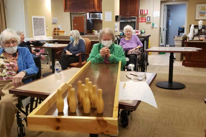Residents bowling.